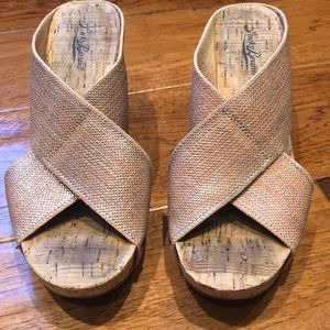 Lucky Brand Rose Gold Miller Cork Wedges